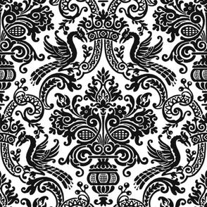 Orkney Damask ~ Faux Flocked Black on White ~  Jumbo
