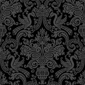 Orkney Damask ~ Faux Flocked Grey on Black ~ Jumbo