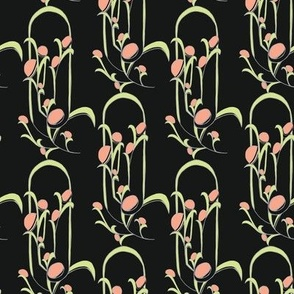 Art Deco Stylized Floral in black/pink