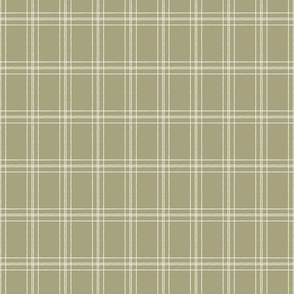 Lined Linens - Quad Plaid-Ivory, Olive (Healing Herbs)