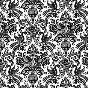 Orkney Damask ~ Faux Flocked Black on White ~ Medium