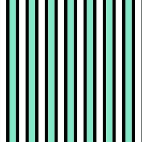 Black, White and Bright Stripes (#7) - Narrow Black Ribbons with Paradise Pools and White