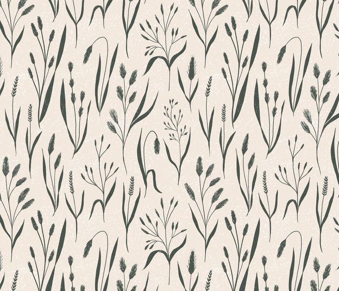 Wild Grasses - textured, hand-drawn grass - tan and green - medium scale