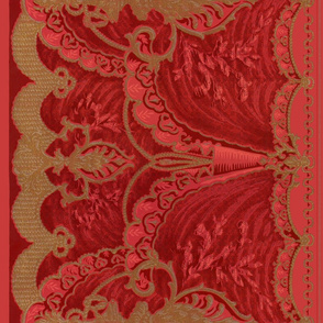 Berhardt Swag Border Frieze ~ Original Red _ Copyright Peacoquette 2021