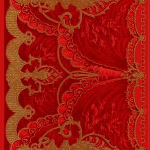 Bernhardt Swag Border Frieze ~ Vivid Red