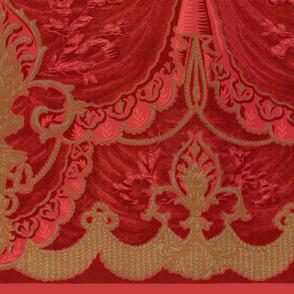 Bernhardt Swag Border Print Faux Moire Wallpaper  ~ Original Red