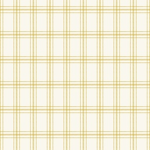 Lined Linens - Quad Plaid - Deep Yellow, Ivory (Bees and Lemons)