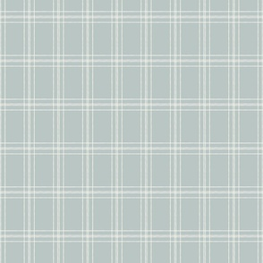 Lined Linens - Quad Plaid - Ivory, Blue (Bees and Lemons)