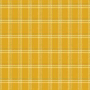 Lined Linens - Quad Plaid - Ivory, Deep Yellow (Bees and Lemons)
