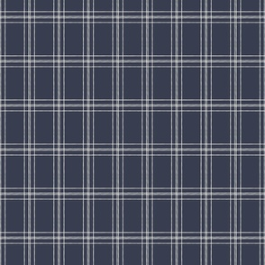 Lined Linens - Quad Plaid - Ivory, Navy (Bees and Lemons)