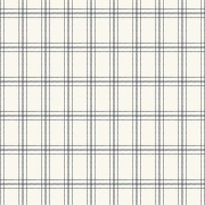 Lined Linens - Quad Plaid - Navy, Ivory (Bees and Lemons)
