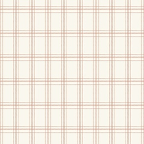 Lined Linens - Quad Plaid - Apple Pink, Ivory (Apples and Chickadees)