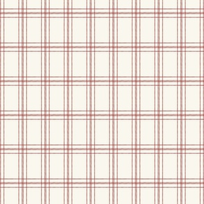 Lined Linens - Quad Plaid - Apple Red, Ivory (Apples and Chickadees)