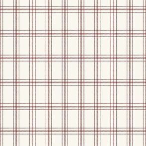 Lined Linens - Quad Plaid - Deep Red, Ivory  (Apples and Chickadees)