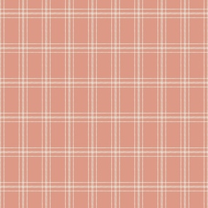 Lined Linens - Quad Plaid - Ivory, Apple Pink (Apples and Chickadees)