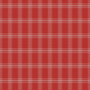 Lined Linens - Quad Plaid - Ivory, Apple Red (Apples and Chickadees)