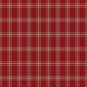 Lined Linens - Quad Plaid - Ivory,  Deep Red (Apples and Chickadees)