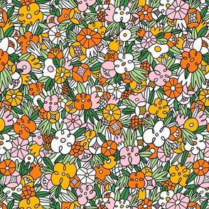 Crazy wild floral pattern