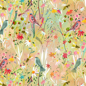 pastel meadow busy bees // large scale