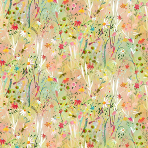 pastel meadow busy bees // medium scale