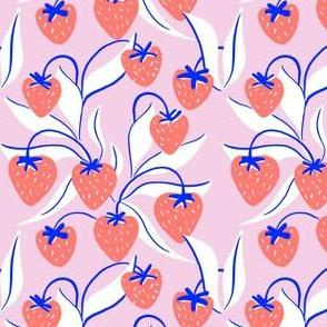 sweet strawberries on vines