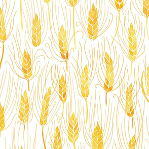 Watercolour wild barley on white - large scale