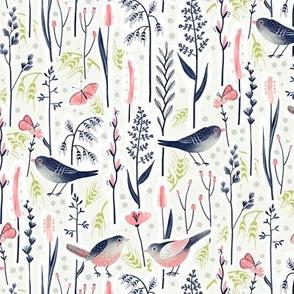 Bird Love in Grass / Small Scale
