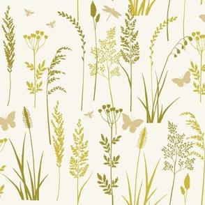 Wild grasses - cream and green