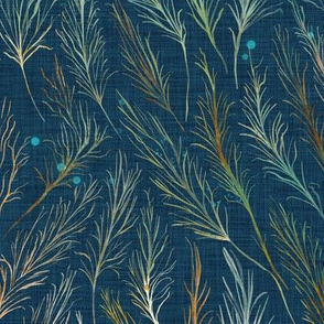 Wild and Wispy Grass - teal blue