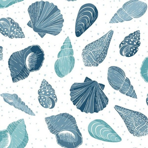 Seashells - blue and white