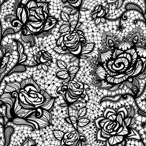 Rose Lace   Noir (Black)