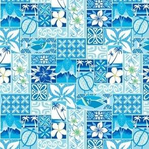 New Hawaiian Motif - blue small