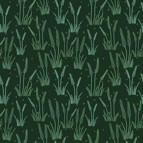 Wheat Line Art Pattern - Green