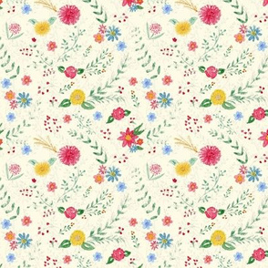 Small Scale Hand Painted Wildflowers on cream
