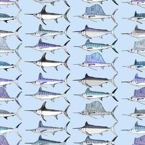 Royal Billfish Slam - Simple colour on pale blue background
