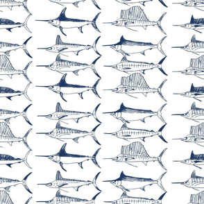 Royal Billfish Slam - Simple navy on white background