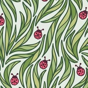 Cute Ladybugs and Grass Pattern