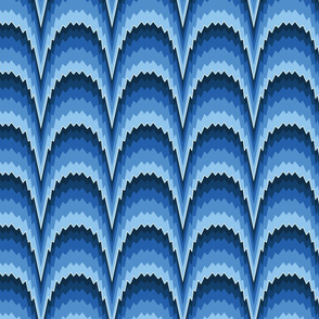 Flame stitch scallops blue large