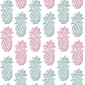 pineapple pink and blue on white