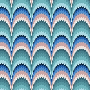 Flame stitch scallops teal blue large