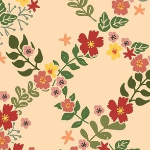 Floral Trellis - Cream, Coral and Green large scale Wallpaper Jumbo