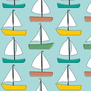 Sailboats - Blue