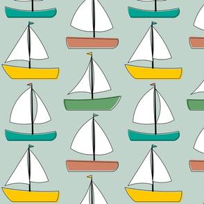 Sailboats - Teal