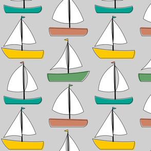 Sailboats - Grey