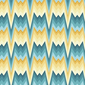 Flame stitch prongs yellow teal large
