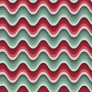Bargello waves red green large