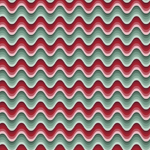 Bargello waves red green small