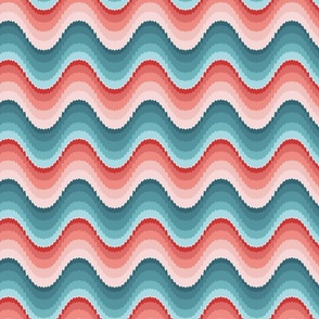 Bargello waves pink red blue large