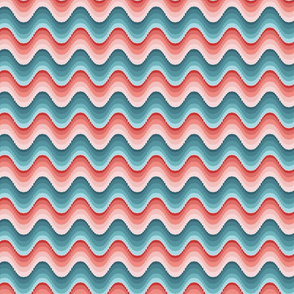 Bargello waves pink blue small