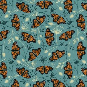 Monarch Butterflies in  the Kangaroo grass